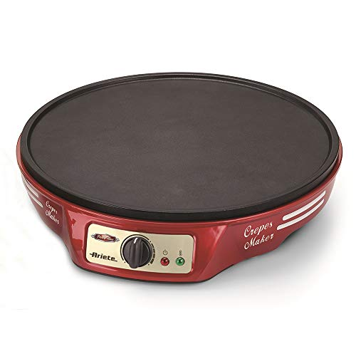 Ariete 183 CREPERA Party Time, 1000 W, termostato Regulable, Revestimiento Antiadherente, 2 espátulas de Madera,...